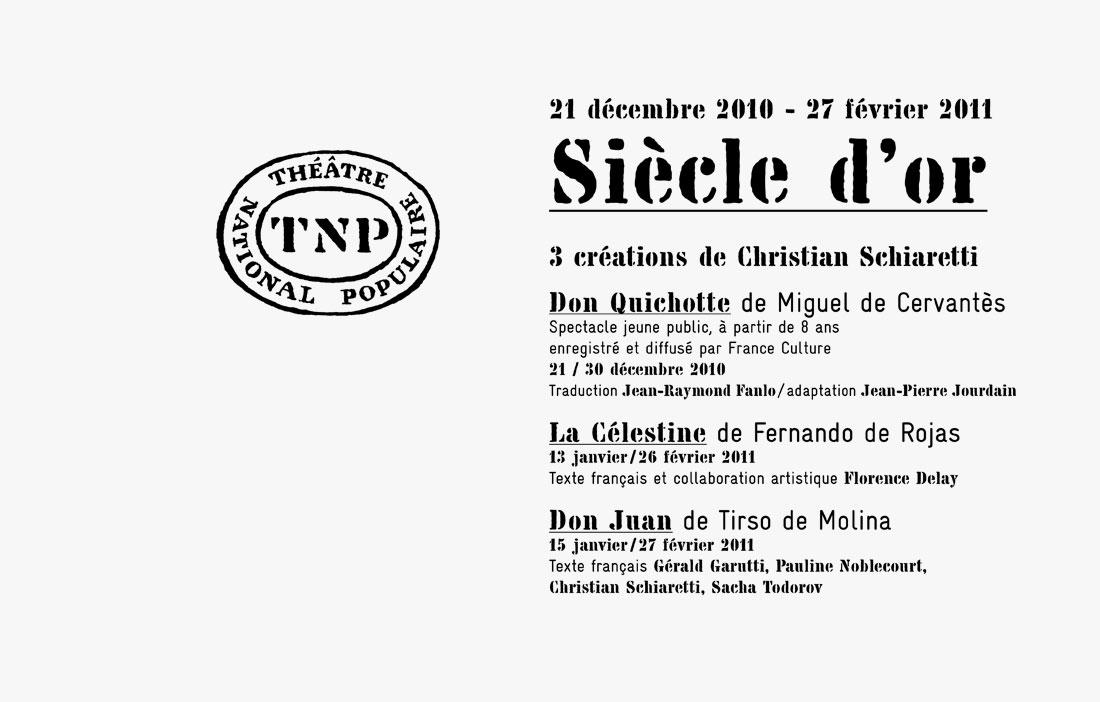 TNP Villeurbanne - Direction Christian Schiaretti - «Siècle d'Or»